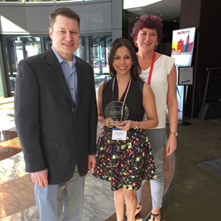 Brad Stevenson, Denise D'Mello and Suzanne Smith pose with the AIReS Circle of Excellence Award presented to Synergy Global Housing during the 2016 EuRA Conference in Malta.