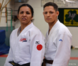Christella Garcia working out with Alex King (Sighted Judoka) who took falls for Christella during training at Cahill's Judo Academy preceding her winning the Gold Medal at the Judo Nationals