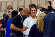 Christella Garcia being congratulated by Ed Liddie, the High Performance Coach at the Olympic Training Center after winning the Gold Medal at the Judo Nationals