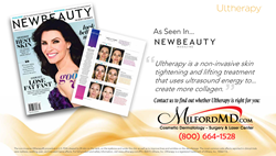 "Ultherapy, a non-surgical skin tightening procedure offered at MilfordMD Cosmetic Dermatology Suregry & Laser Center, was just named ""2016 Best Nonsurgical Skin Tightener"" by NewBeauty magazine."