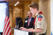 Ryan Gonzalez of San Marino Troop #355 receives the BSA Lifesaving Action Award for saving a life with the Heimlich maneuver.