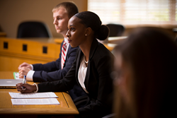 (L-R): Evan Dix and Stetson law May Valedictorian Darnesha Carter prepare for moot court.