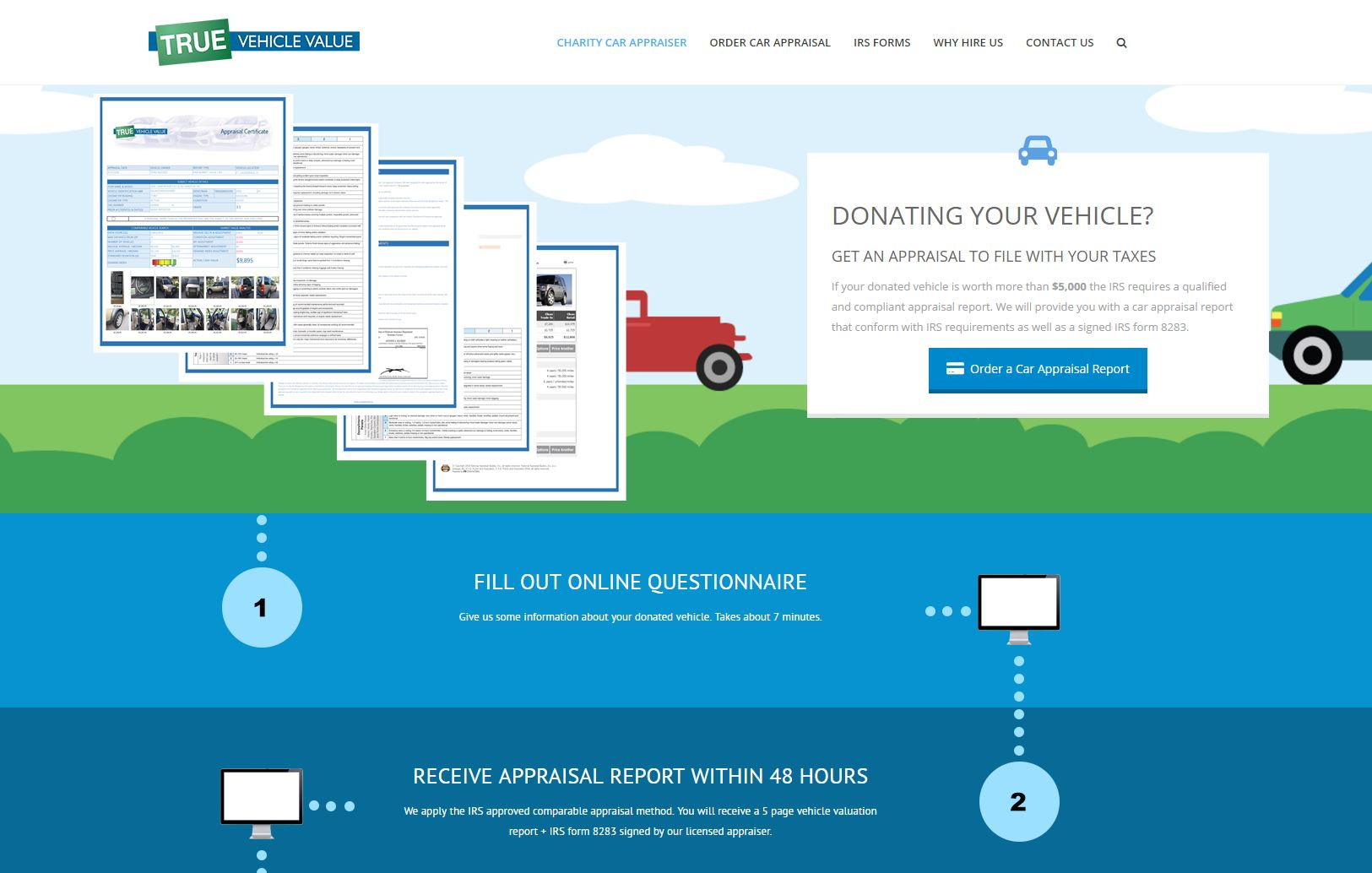 Charity car appraisal website redesigned to offer better user experience for clients requesting valuation reports on their donated property