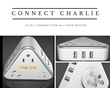 Connect CHARLIEcompact 12-in-1 charger that has 9 USB Ports, 3 Outlets, a built in night light and safely charges