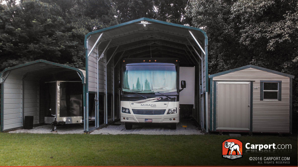 New economical rv carports and metal garage fabrication for Custom rv garages
