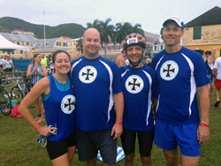 Team Cane Bay VI poses before the start of the race on Sunday. From left to right: Julie Sommer, Jeff Dykstra, Mehran Chirehdast and Jason Snow.