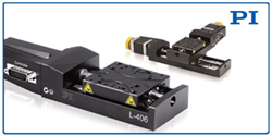PI's L-406 Compact Linear Stage: DC Motor (left) shown with XY Stepper Motor Configuration (right)