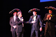 "State Theatre Benefit Gala performer Martin Short on the State Theatre stage with his ""Three Amigos"" from the audience."