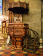 Intricately carved wooden pulpit
