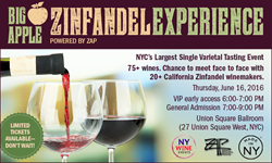 Taste an array of quality zinfandels 6/16/16 at The Union Square Ballroom, 27 Union Square West in New York City. Presented by NewYorkWineEvents.com.