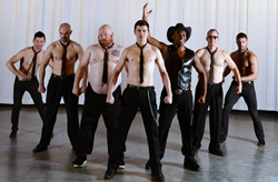 "Cast members of ""The Full Monty"" at the Grand Theatre on Salt Lake Community College's South City Campus. Photo by Steve Fidel"