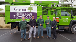 Abington YMCA's trees are now safer thanks to a $3,250 grant from Giroud Tree and Lawn.  Pictured from l to r are: Bill Santry, Giroud Crew Leader, Rob Nagy, Giroud Arborist, David Walker and Jim Fairfield, Giroud Tree Climbers and Missy Di Massa, Associa
