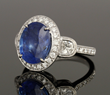 18K White Gold Diamond and Natural Sapphire Ring