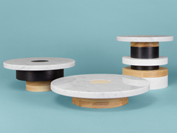Modern Marble and Wood Pedestals by MPGMB for Souda