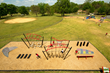 Aerial view of the Challenge Course. There are seven challenges on the course, inspired by obstacle course television shows and professional sports training camps.