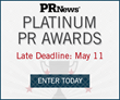 PR News Accepting Final Entries for 2016 Platinum PR Awards Through May 11