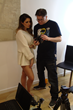 "Samuel Victor and Lucy Pinder on set for ""Live Justine"""