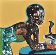 Nabeela Al Khayer, Dialogue, 120x120cm, Mixed Media on canvas, 2014
