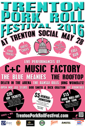 Poster with details for the Trenton Pork Roll Festival at Trenton Social on May 28