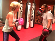 Dr. Karin Hehenberger working out at Punch Fitness with trainer  Villi Bello