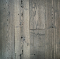 Custom Grey Finished Reclaimed Ash is one of several new product finishes Pioneer Millworks is unveiling at ICFF.