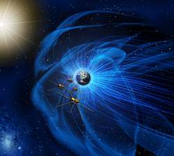 This artist's rendition shows the four identical MMS spacecraft flying near the sun-facing boundary of Earth's magnetic field (blue wavy lines). Credit: NASA