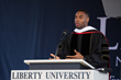 New York Giants running back and Liberty University alumnus Rashad Jennings delivers the 2016 keynote address at his alma mater's Commencement.