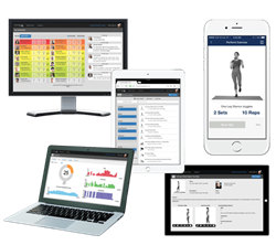 This image shows some of the features of the In Hand Health telehealth solution for physical therapy, including patient dashboard, video-based exercises, HIPAA secure messages, and real-time progress stats.