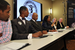 A panel discussion on ECT with Gerald Griggs (Vice Pres. NAACP Atlanta), Rizza (Nation of Islam), Rev. Fred Shaw (Christian Minster), Sen. Donzella James, Dr. Linda Lagemann and Congressman Dan Burton
