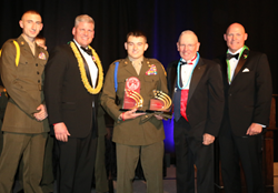 YM SgtMaj Lucas Ward, 2015 - 2016 National Young Marine of the Year; Bill Davis, national executive director and CEO of the Young Marines, YM SgtMaj Joseph Bacon, 2016 - 2017 National Young Marine of the Year; Gene Overstreet, 12th Sergeant Major of the M