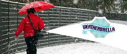 The Weatherbrella has a curtain-like extension feature which serves as an effective barrier against wind, snow and water.