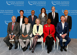 From left to right: Sen. Timothy E. Wirth, Dr. Gro Harlem Brundtland, Prof. Muhammad Yunus, Judge Hisashi Owada, Ms. Kathy Calvin, Her Majesty Queen Rania Al Abdullah, Baroness Valerie Amos, Dr. Julio Frenk, Mr. Hans Vestberg, Mr. Narayana Murthy. Not pho