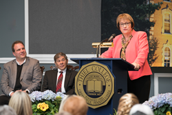 Dr. Traverso addresses the Thiel College campus and local community.