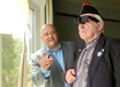 New England Low Vision President demonstrates NuEyes to a veteran with vision loss