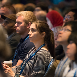 Attendees listen to one of several plenary speakers at SPIE Optics + Photonics.