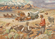 Oscar E. Berninghaus, Forty-niners, Taos Society of Artists, oil on canvas,  Legacy, Indigenous Americans, Western art, Western frontier, cowboys, soldiers, explorers, 19th century American West, culture clash, Sid W. Richardson, Sid W. Richardson Foundat