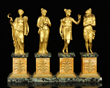French Dore Bronze and Sienna Marble Four Seasons Figures