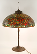 Double Pointsettia Style Leaded Stained Glass Table Lamp