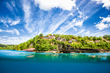 Looking up at Ti Kaye Resort & Spa from the waters off Anse Cochon.
