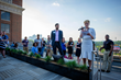 Hala Moddelmog, president and CEO of the Metro Atlanta Chamber and Fred Roselli, chair of ATLeaders speak to the crowd at the launch party © Komich Photography