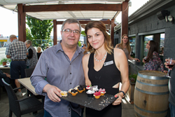 150 people enjoyed samples of the Cornerstone Grill's organic and handmade dishes at the launch party on May 13