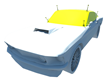 the top piece of the tarp would have an axle with wheels and it would have 5 pieces to cover the car from front windshield, roof, rear window and both sides of car windows.