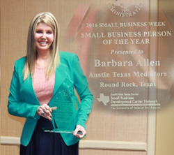 "Mediator and attorney Barbara Ann Allen with ""Person of the Year"" award from the U.S. Small Business Administration's (SBA) Texas District."