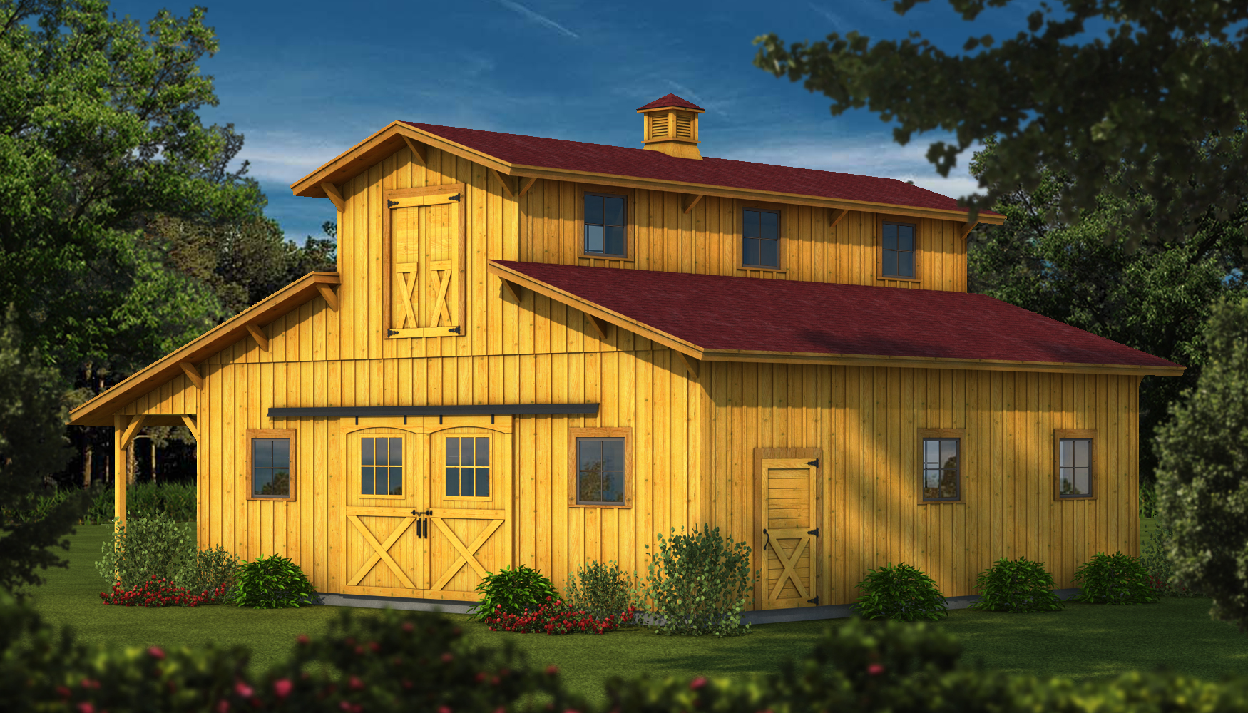 Southland launches classic wood barn kits for Log barn homes