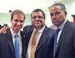 (L to R) Hartford Mayor Luke Bronin, Express Kitchens' Max Kothari and friend Kurt Harrison