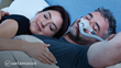 A man sleeping peacefully while wearing a Respere™ CPAP mask.