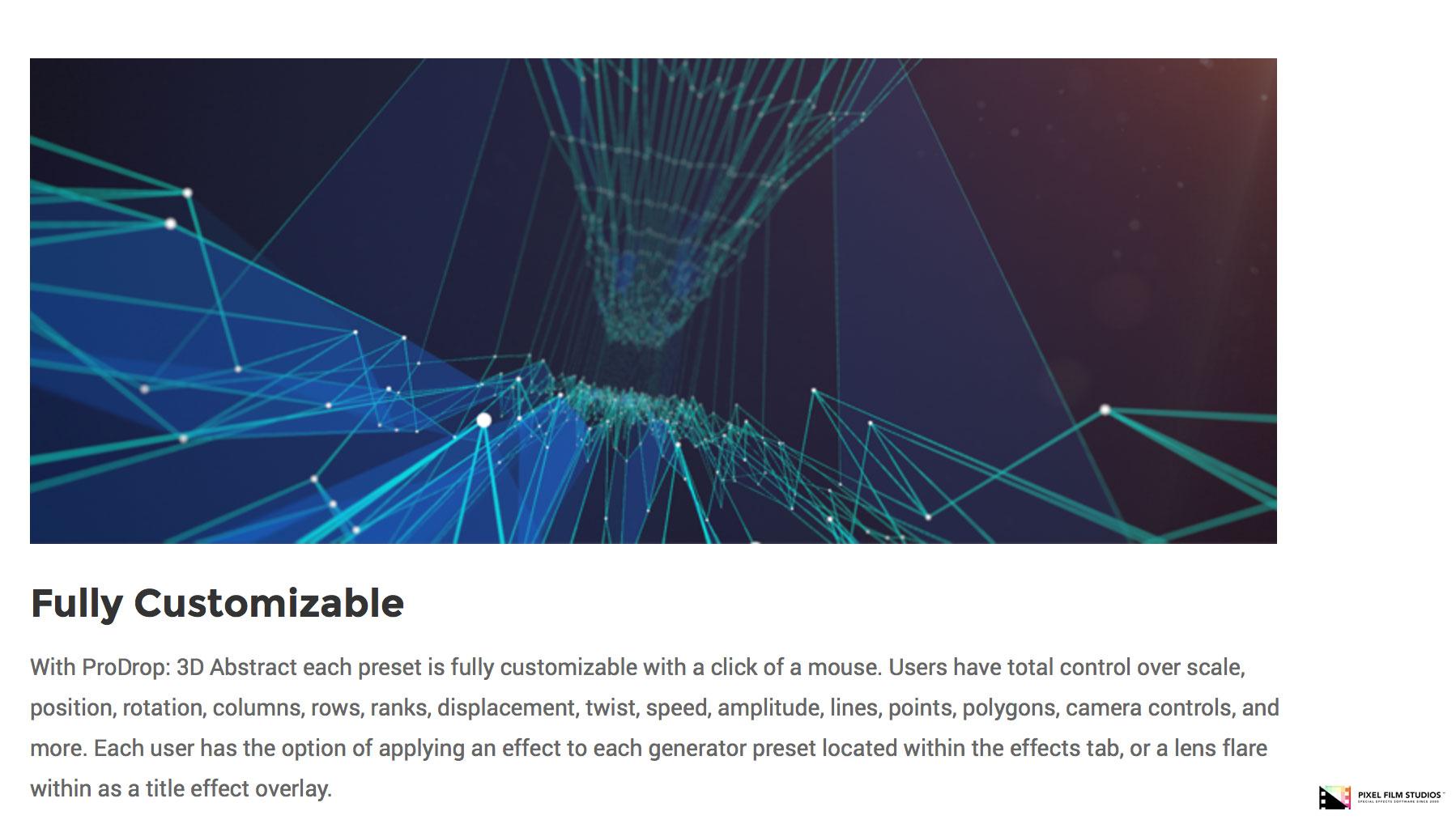 pixel film studios released a new fcpx plugin prodrop 3d abstract