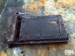 A burnt hard drive from a data recovery project in CBL's laboratory.