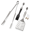 Each Grill Tool Hardware Kit is made of heavy-duty, food-grade steel components, except the basting brush, which is made of heat-resistant silicone.