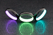Carbon Lume Rings in  Purple, Green and Turquoise, by Carbon 6